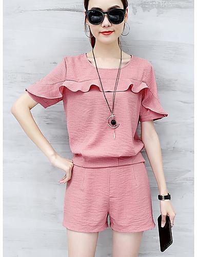 Mikroelastisk Kortermet,Rund hals T-skjorte Bukse Drakter Ensfarget Sommer Enkel Avslappet Dame