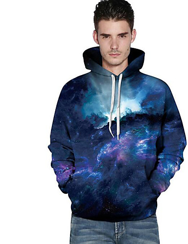Men's Going out 3D Print Hooded Hoodie Short, Long Sleeves Spring Fall