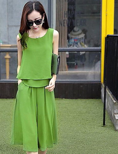 Women's Daily Casual Summer T-shirt Pant Suits