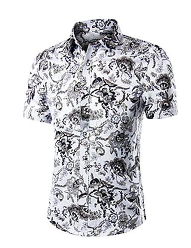 Bomull Annet Kortermet,Skjortekrage Skjorte Ensfarget Blomstret Trykt mønster Enkel Fritid/hverdag Arbeid Herre
