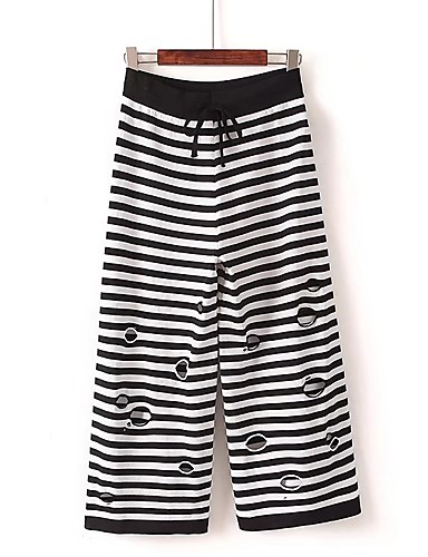 Women's Mid Rise strenchy Loose Culotte Relaxed Pants,Street chic Solid Striped Spring Summer Fall