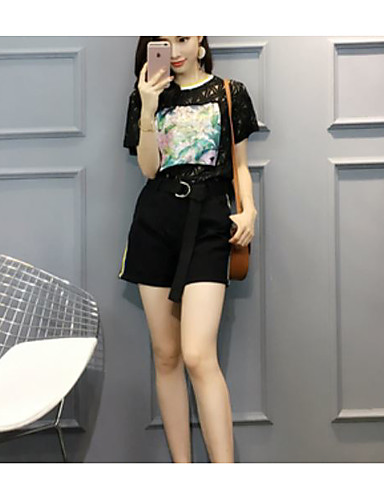 Women's Daily Going out Casual Street chic Summer T-shirt Pant Suits,Floral Round Neck Short Sleeve Lace Others
