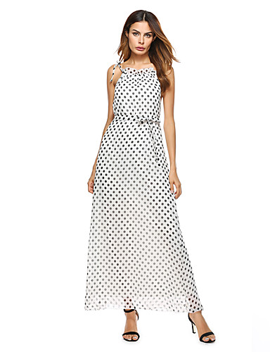Women's Daily Holiday Going out Casual Sexy Street chic Sheath Dress,Polka Dot Halter Maxi Sleeveless Acrylic Summer Mid Rise Inelastic