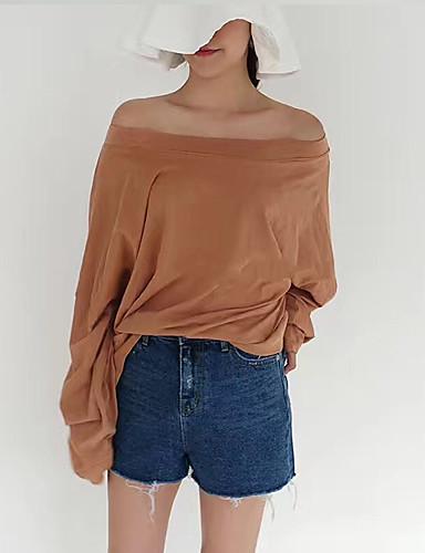 Bomull Tynn Langermet,Stroppeløs T-skjorte Ensfarget Sommer Vintage Ut på byen Dame