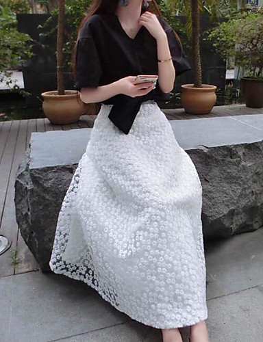 Women's Going out A-Line Slip / Ball Gown Slip / Skirt T-shirt - Solid Colored / Geometric, Stylish Skirt / Spring / Summer