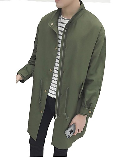 Men's Daily Simple Casual Spring Fall Trench Coat,Solid Stand Long Sleeve Long Cotton
