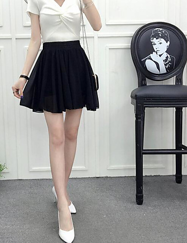 Women's Daily Above Knee Skirts Slim Solid Summer
