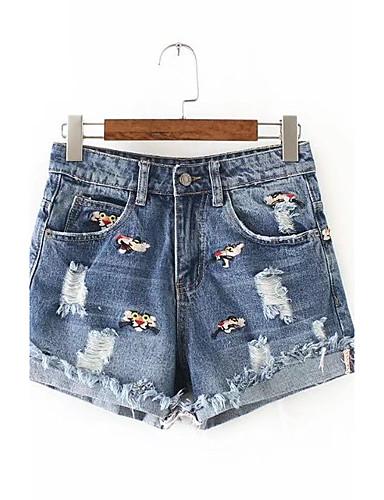 Dame Gatemote Mikroelastisk Shorts Jeans Bukser,Løstsittende Mellomhøyt liv Broderi