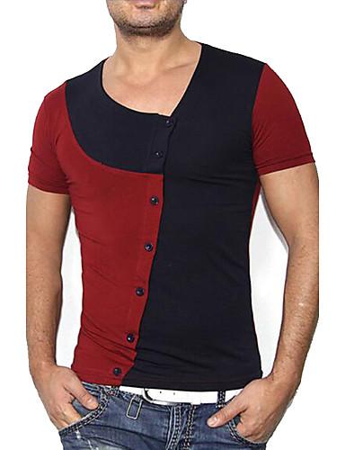 Homens Camiseta Casual / Activo / Punk & Góticas Estilo Moderno / Fashion / Côr Misturada, Estampa Colorida / Manga Curta