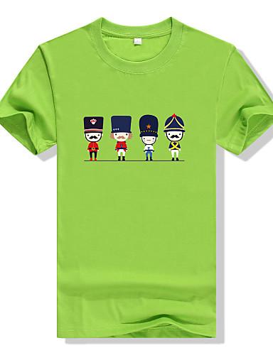 Homens Camiseta Activo Estampado Algodão Decote Redondo / Manga Curta