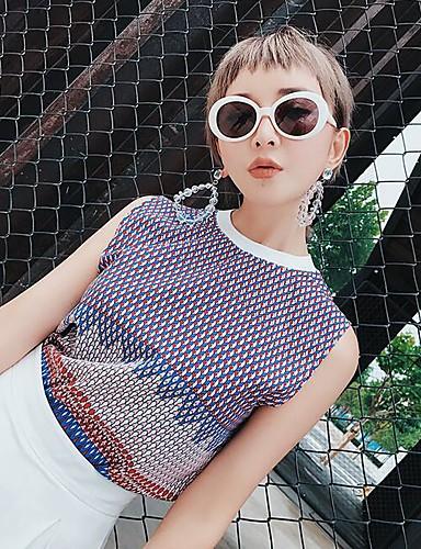 Women's Going out Vintage Summer Tank Top,Geometric Round Neck Sleeveless Polyester Medium