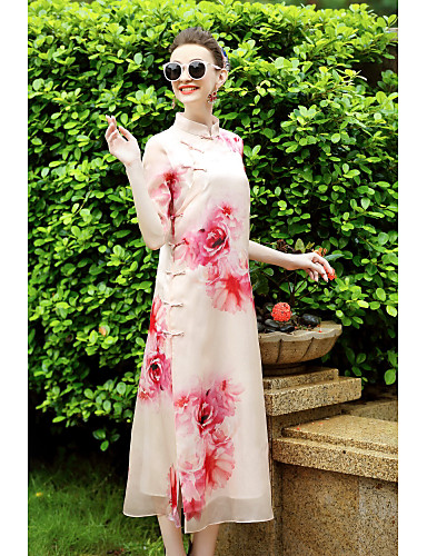 Women's Holiday Going out Vintage Chinoiserie Loose Swing Dress,Floral Stand Asymmetrical Half Sleeves Silk Cotton Others Summer Mid Rise