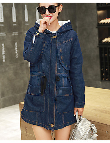 Women's Simple / Casual Coat - Solid Colored / Fall / Winter