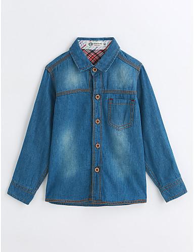 Boys' Solid Shirt,Cotton Spring Fall Long Sleeve Blue