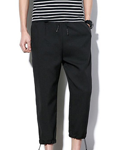 Men's Mid Rise Inelastic Straight Loose Pants,Chinoiserie Harem Pure Color Solid