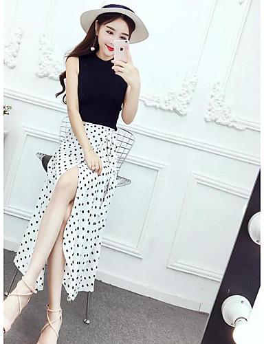 Women's Casual / Active Cotton T-shirt - Dots / Color Block Skirt / Summer
