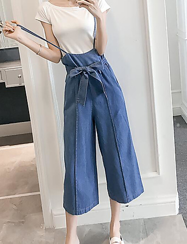 Women's High Waist Micro-elastic Jeans Pants,Cute Wide Leg Solid