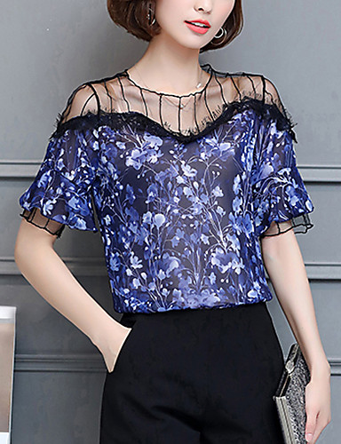 Women's Party/Cocktail Going out Daily Sexy Blouse Print Round Neck Short Sleeve Rayon Polyester Thin
