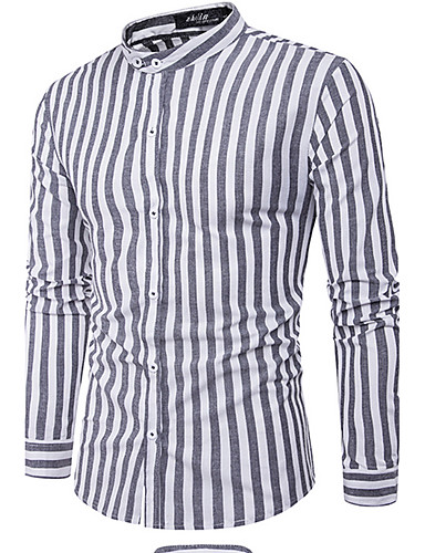 Bomull Langermet,Skjortekrage Skjorte Rutet Enkel Fritid/hverdag Herre