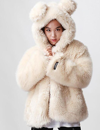 Women's Daily Simple Casual Winter Fall Regular Fur Coat, Solid Hooded Others