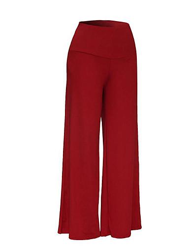 Women's Plus Size Loose Bootcut Wide Leg Pants - Solid, Pure Color High Waist