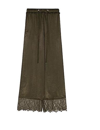 Women's Vintage Wide Leg Pants,Solid Lace High Rise