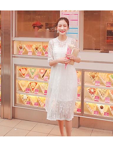 Kroppstett Kjole Blonder Kjole Fritid/hverdag Dame,Ensfarget Spill med Apple-logo Rund hals Knelang Kortermet Rayon Polyester 100% Cotton