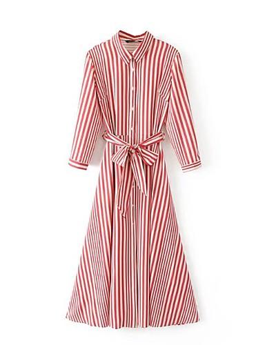 Løstsittende Skjorte Kjole Fritid/hverdag Ferie Ut på byen Enkel Gatemote Dame,Stripet Skjortekrage Knelang Langermet Bomull Vår Sommer