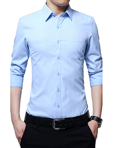 Men's Daily Work Plus Size Casual Fall All Seasons Shirt,Solid Print Shirt Collar Long Sleeves Cotton Polyester Medium