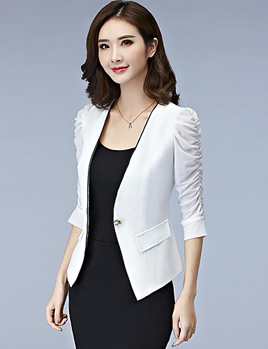 Women's Office & Career Formal / Work Spring &  Fall / Summer Short Jacket, Solid Colored V Neck 3/4 Length Sleeve Polyester White / Black XL / XXL / XXXL