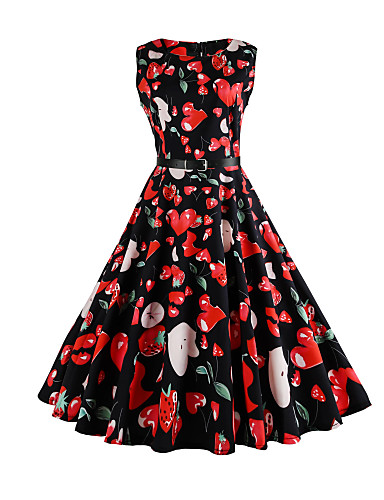 Women's Vintage Cotton Sheath / Swing Dress - Floral Vintage Style