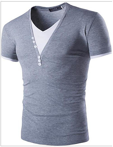 Men's Casual/Daily Simple Spring Summer T-shirt Round Neck Short Sleeves Cotton