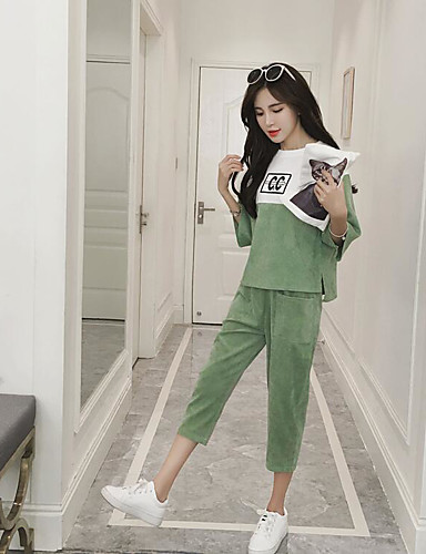 Women's Daily Casual Summer Hoodie Pant Suits,Letter Round Neck 1/2 Length Sleeve Cotton/nylon with a hint of stretch Micro-elastic