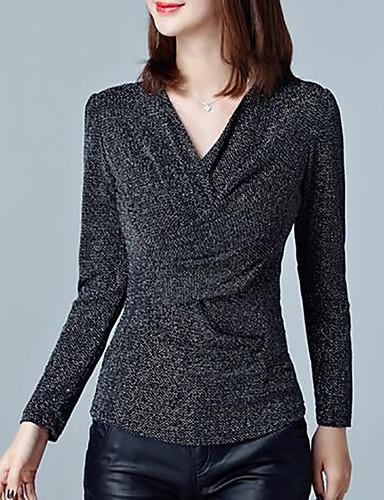 Rayon V-hals Store størrelser T-skjorte - Ensfarget Dame