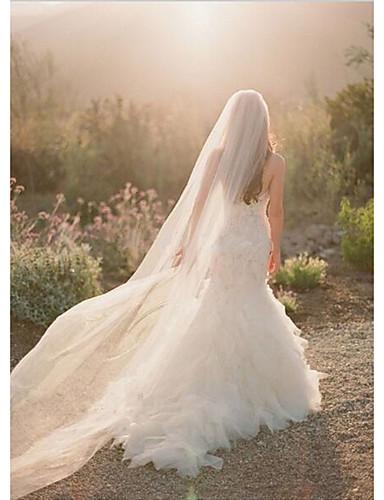 Uma Camada Corte da borda Véus de Noiva Véu Capela Com Pente Flôr Tule