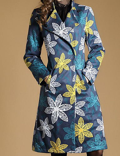 Women's Simple / Casual Cotton Trench Coat Print V Neck / Fall / Winter