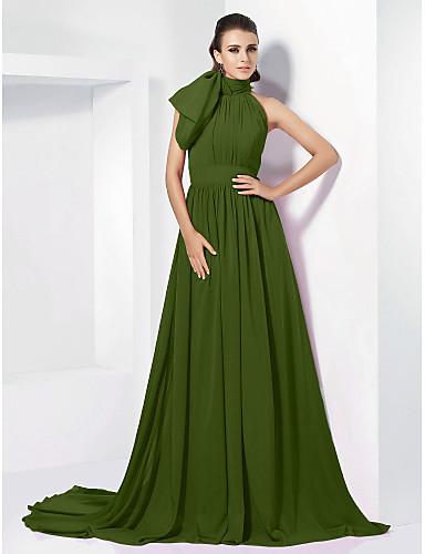 ieftine Rochii de Ocazii Speciale-Linia -A Gât Înalt Trenă Court Șifon Inspirație Vintage Seară Formală Rochie cu Arc / Pliuri de TS Couture®