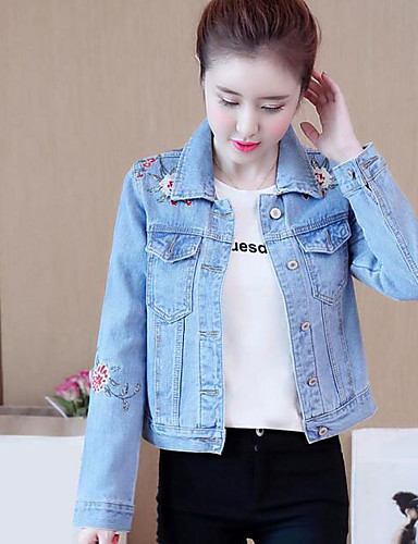 Women's Simple Casual Denim Jacket-Solid Colored,Print Embroidered Shirt Collar