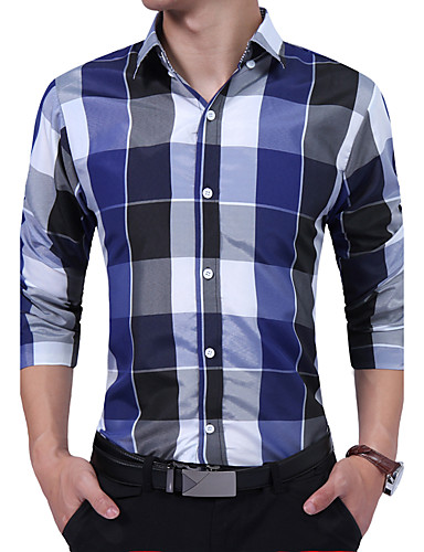 Men's Daily Work Plus Size Vintage Casual All Seasons Shirt,Geometric Color Block Shirt Collar Long Sleeves Cotton Rayon Thick
