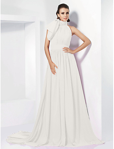 cheap Evening Dresses-A-Line High Neck Court Train Chiffon Vintage Inspired Formal Evening Dress with Bow(s) / Pleats by TS Couture®