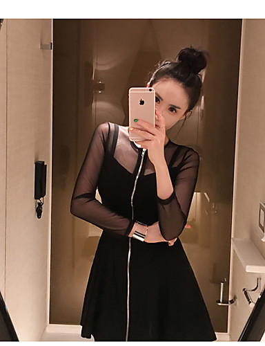 Women's Daily Going out Sheath Above Knee Dress, Solid Round Neck Long Sleeves Spring Summer