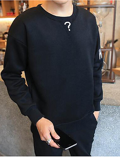 Men's Daily Sweatshirt Solid Print Round Neck Micro-elastic Cotton Long Sleeve Fall