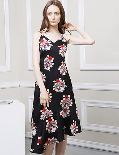 Women's Casual/Daily Shift Asymmetrical Dress,Print Strap Sleeveless Summer High Rise