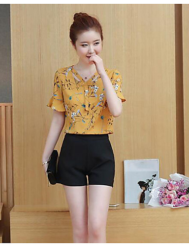 Women's Daily Casual Casual Summer Blouse Pant Suits,Solid Floral V Neck Short Sleeve Chiffon Inelastic