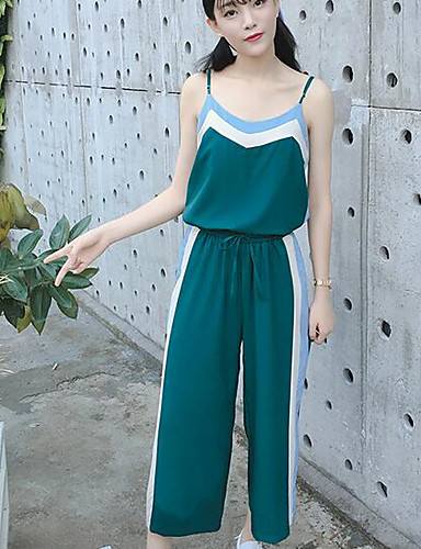 Women's Daily Casual Summer Tank Top Pant Suits,Color Block Strap Sleeveless Others