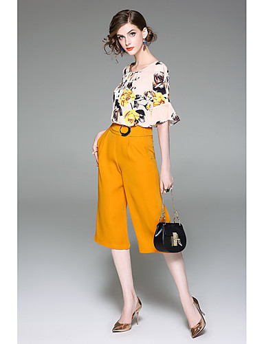 Women's Going out Daily Cute Active Summer Blouse Pant Suits