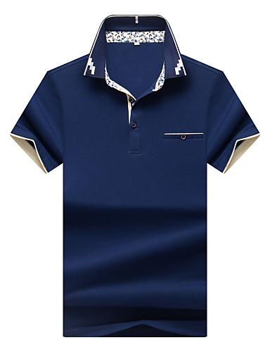 Bomull Spandex Medium Kortermet,Skjortekrage Polo Ensfarget Sommer Enkel Fritid/hverdag Arbeid Plusstørrelser Herre