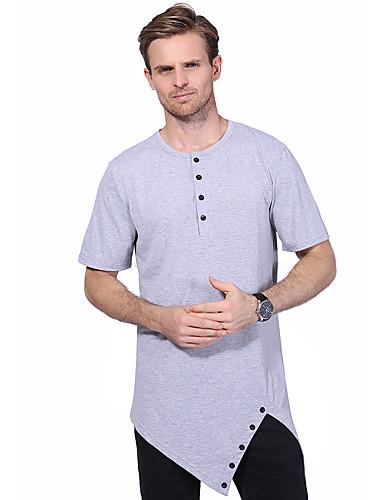 Bomull Spandex Medium Kortermet,Rund hals T-skjorte Ensfarget Sommer Enkel Fritid/hverdag Herre