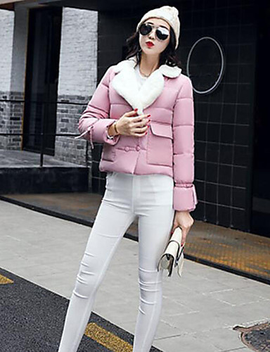 Women's Short Padded Coat,Simple Casual/Daily Solid-Polyester Polypropylene Long Sleeves