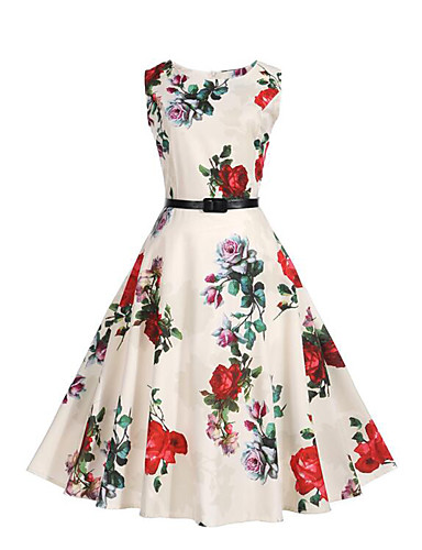 Women's Daily Going out Beach Street chic Sheath Swing Dress,Floral Round Neck Knee-length Sleeveless Polyester Summer High Rise